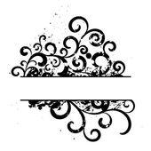 Schwarz grunge floral vector frame — Stockvektor