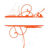 Orange grunge floral vector frame — Stock Vector