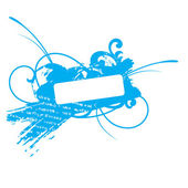 Blue grunge floral vector frame — Stock Vector