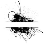 Černý grunge květinové vektorové rám — Stock vektor