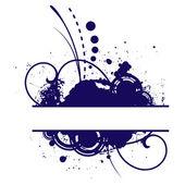 Tmavě modré grunge květinové vektorové rám — Stock vektor