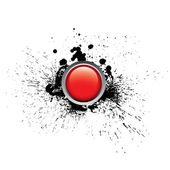 Red glossy vector button with splashes — Stock Vector