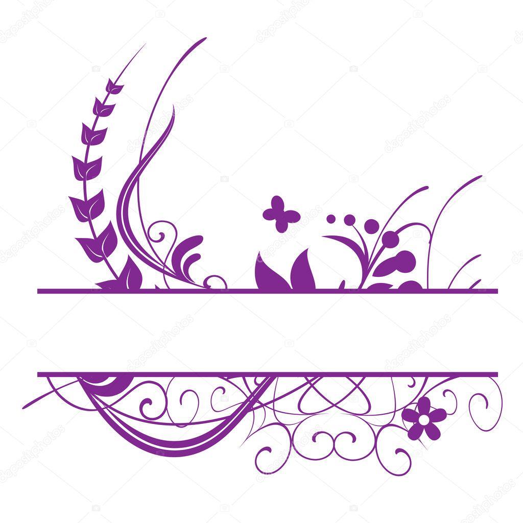 Purple floral vector frame stock illustration