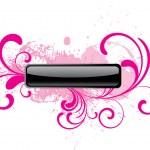 botón de rosa brillante vector rectangular — Vector de stock