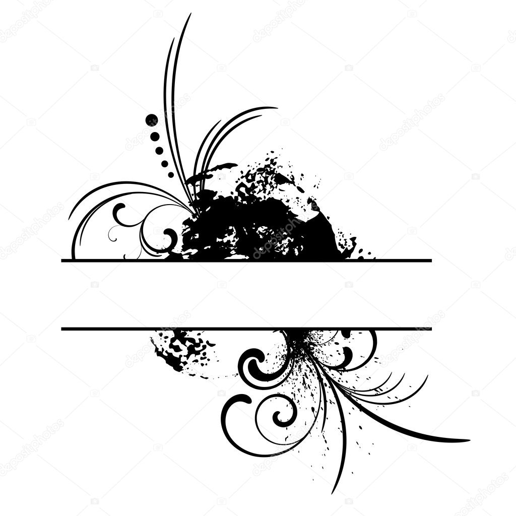 Black grunge vector frame with floral patterns — Stock Vector #1325283