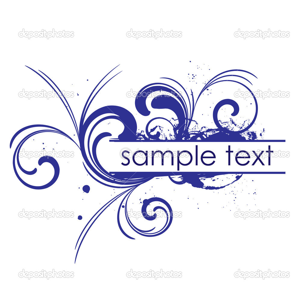 Blue frame with floral patterns and place for text — Stock Vector #1340212