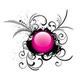 Pink grunge glossy button — Stock Vector