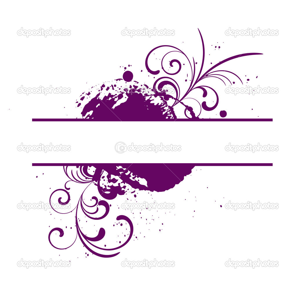 Purple vector frame with grunge and floral patterns — Vektorgrafik #1352983