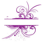 Purple grunge frame with floral patterns — Stock Vector