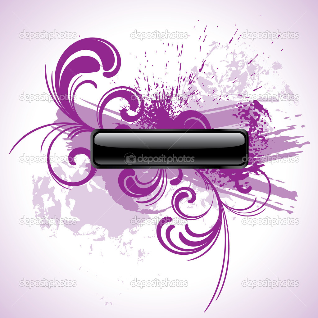 Purple grunge rectangular vector button with floral patterns — Imagen vectorial #1360068