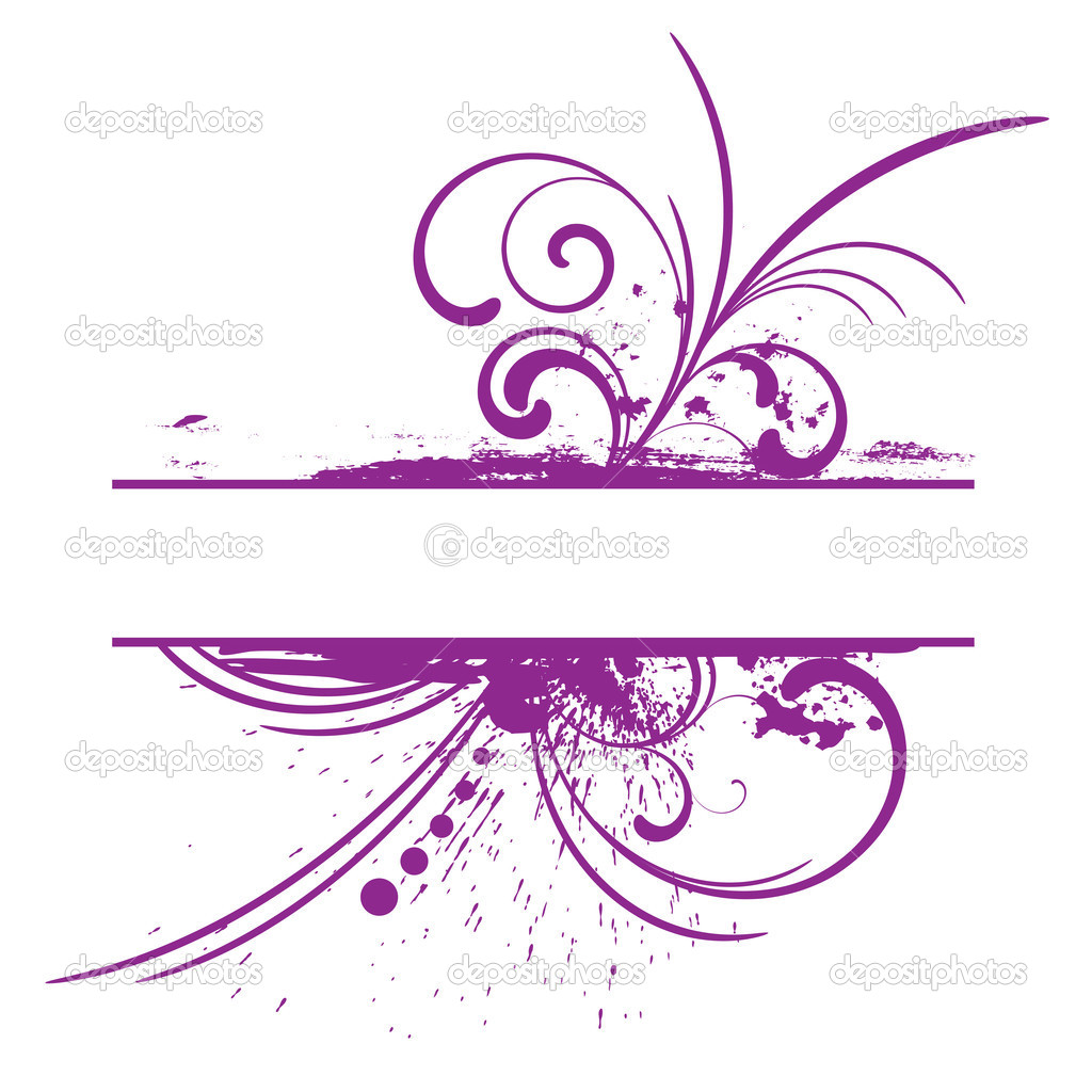 Purple grunge frame with floral patterns  Stock Vector #1369812