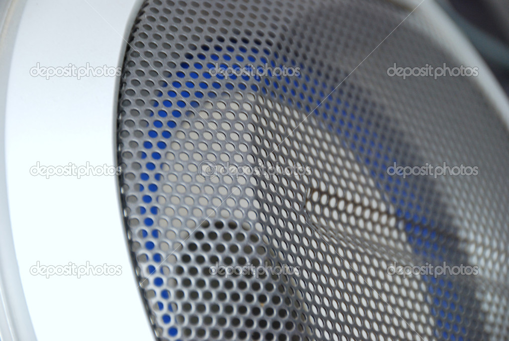 Silver loudspeaker - part of electronical musical center — Stock Photo #1069248