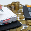 Stockfoto: Diary and money