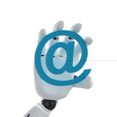 Robotic hand hold a email symbol — Stock Photo