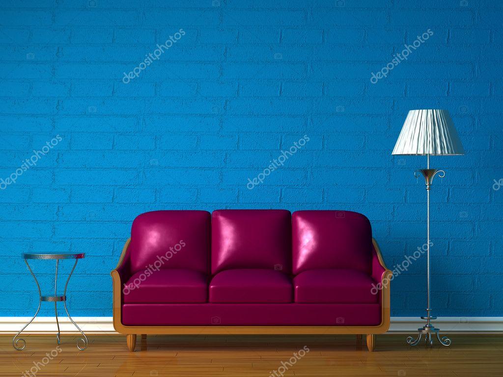 Paarse bank, tafel en standaard lamp — stockfoto © sommersby #1011562