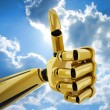 Gold 3d robotic hand with thumb up — Stock Photo #1027700