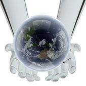 Earth in hands of the technology — Stock Photo