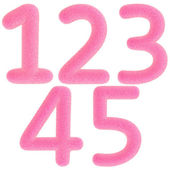 Furry pink numbers — Stock Photo