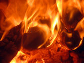 Burning fire and charcoal, may be used a — Stock Photo