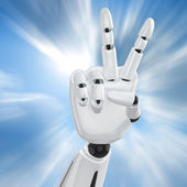 Robotic hand showing victory — Stock Photo