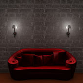 Red couch with empty frame and sconces i — Stock Photo