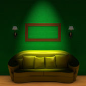 Yellow couch with empty frame and sconce — Stock Photo