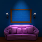 Pink couch with empty frame and sconces — Stockfoto