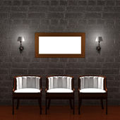 Three chair with empty frame and sconces — Stock Photo