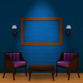 Two chair with table and empty frame and — Stock Photo