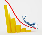 The arrow with man on the graph going do — Stock Photo
