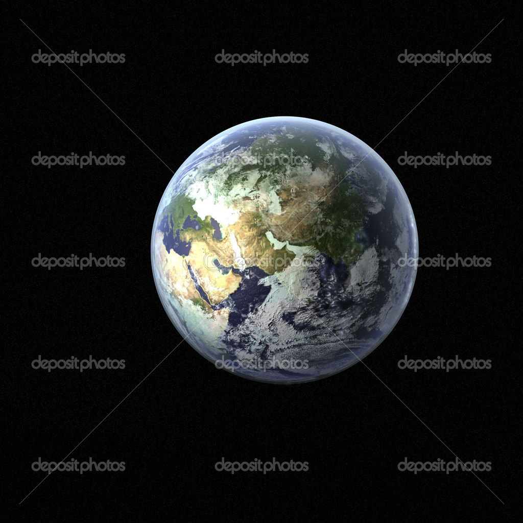 A high detail 3d render of the earth & atmosphere — Stockfoto #1021585