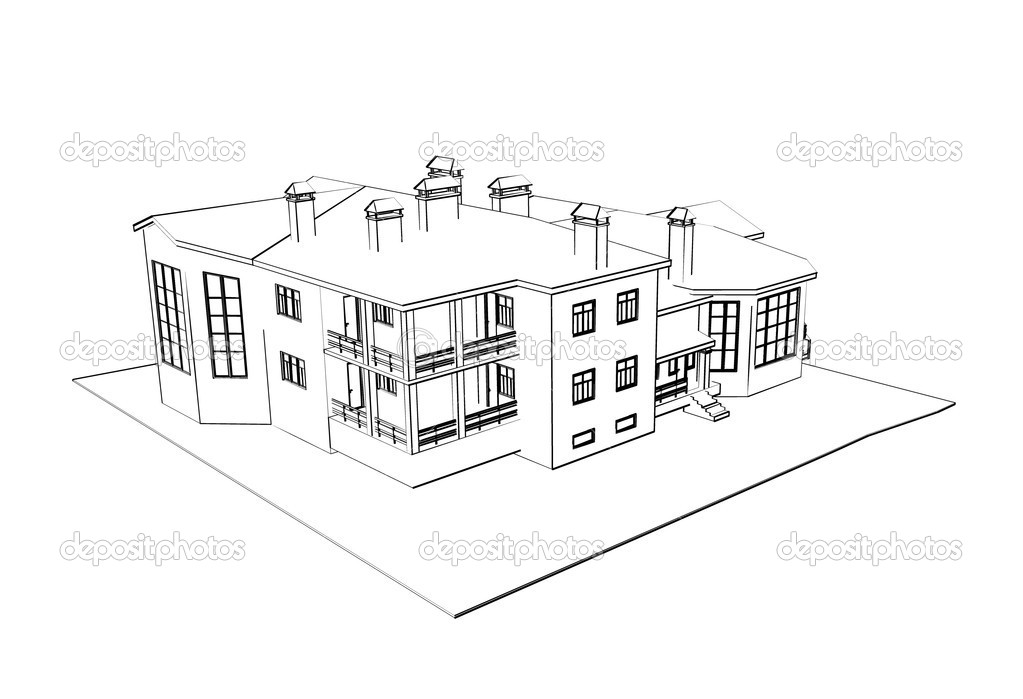 House 3d technical draw stock photo sommersby 1022626 3d house drawing