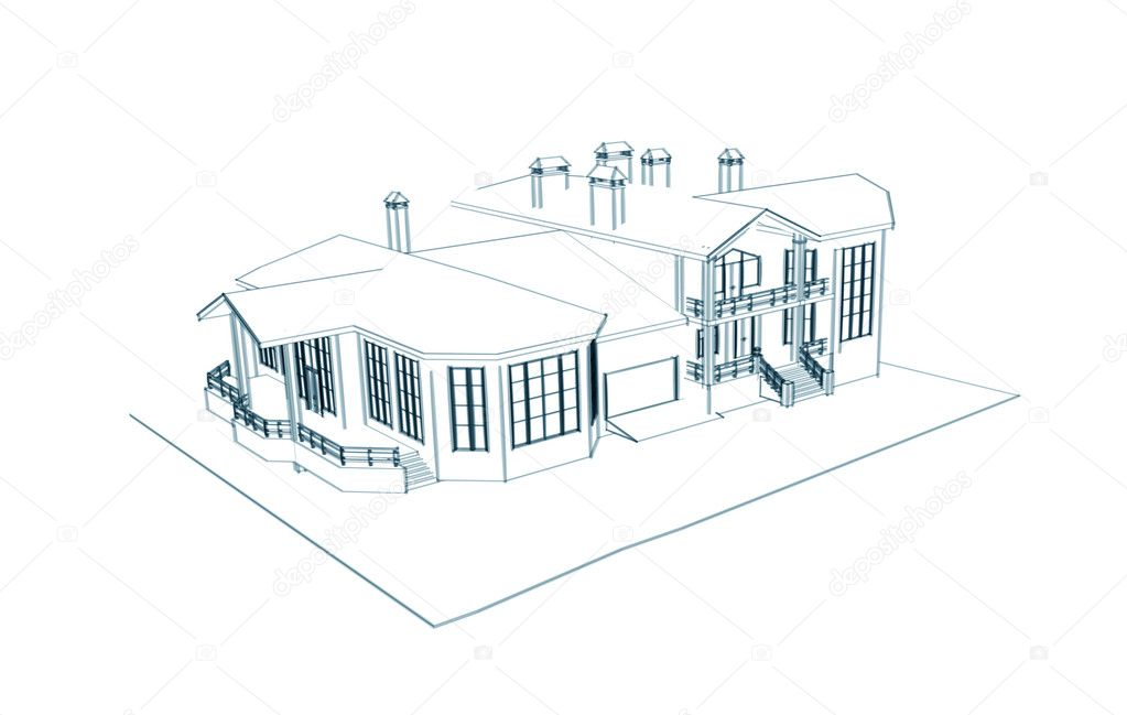 House 3d technical draw stock photo sommersby 1026727 3d house drawing