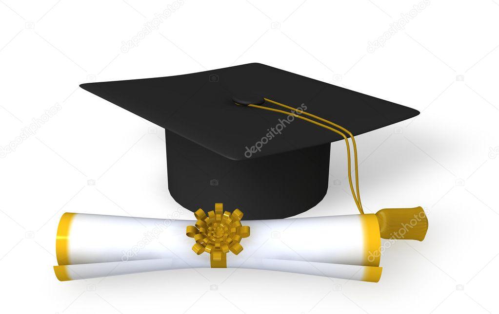 Gorro de graduación y pergamino en blanco backg \u2014 Foto de Stock 1027861