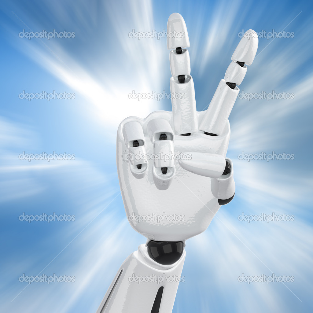Robotic hand showing victory sign  Stock Photo #1028140