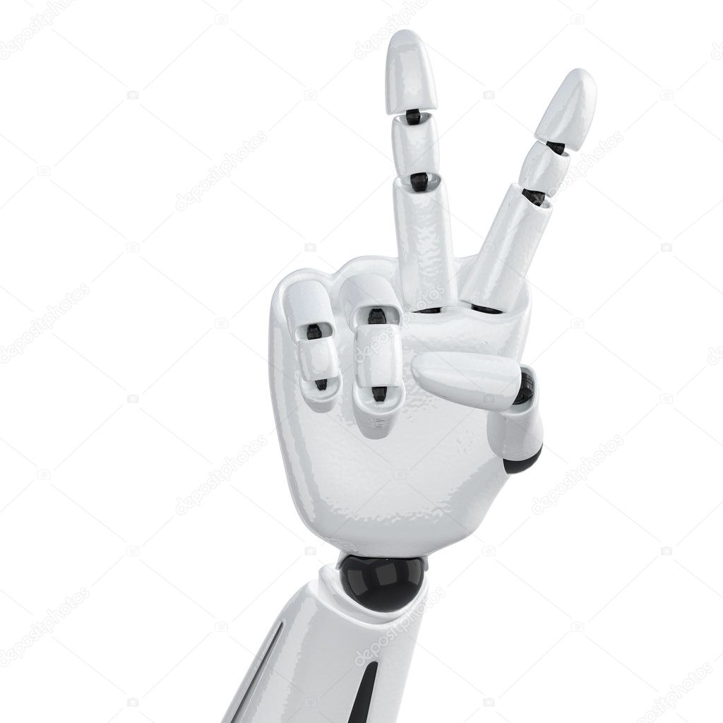 Robotic hand showing victory sign — Stock Photo #1028152