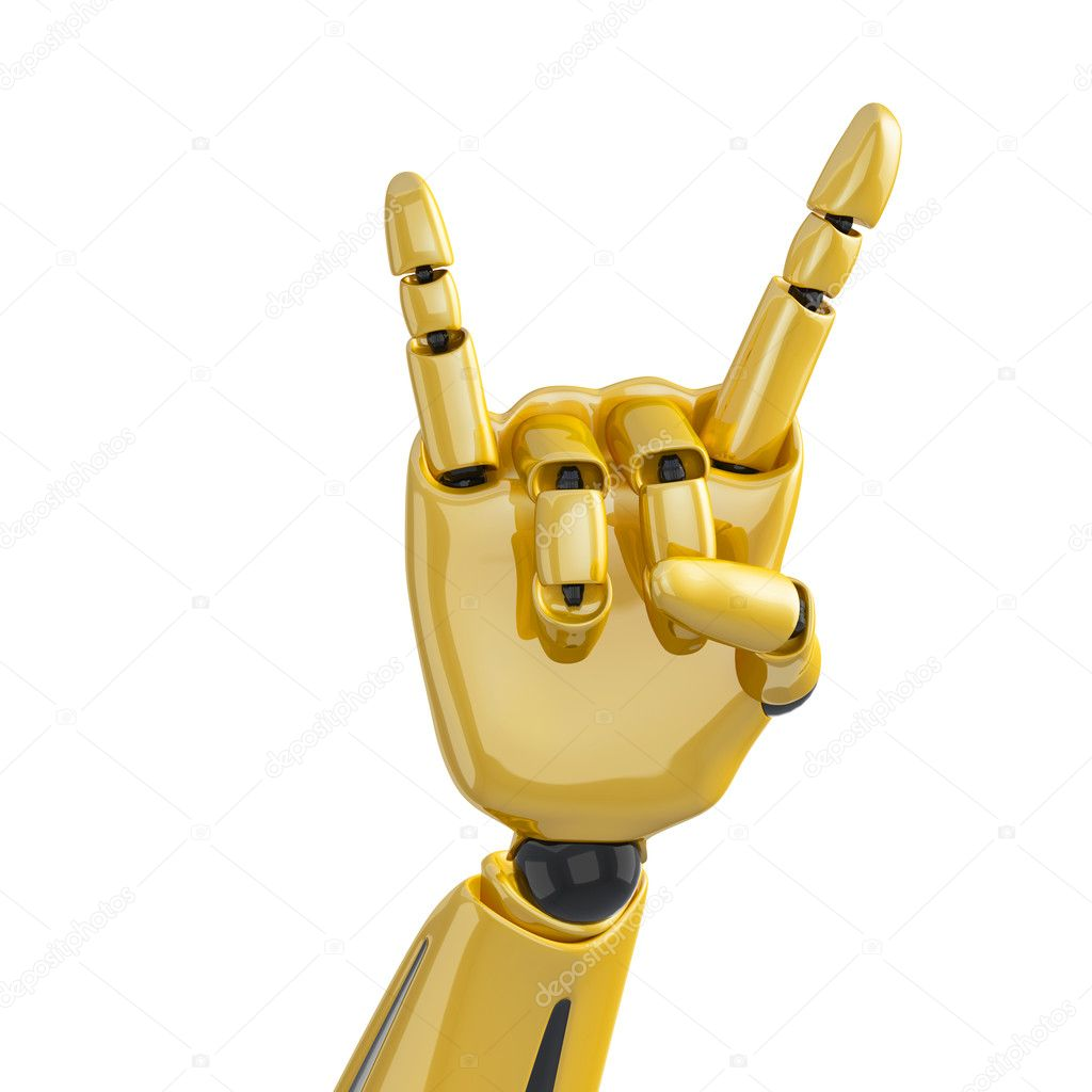 Golden robotic hand giving the sign of horns on the white — Stock Photo #1028187