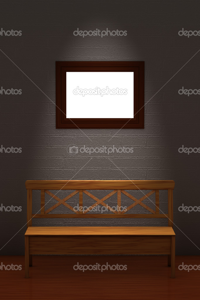 Wood bench with empty frame in minimalis — Stock Photo © Danila ...