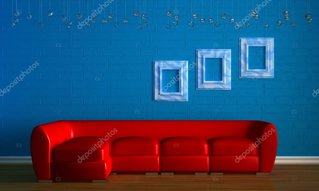 Red couch with empry frames in minimalis — Stock Image © Danila ...