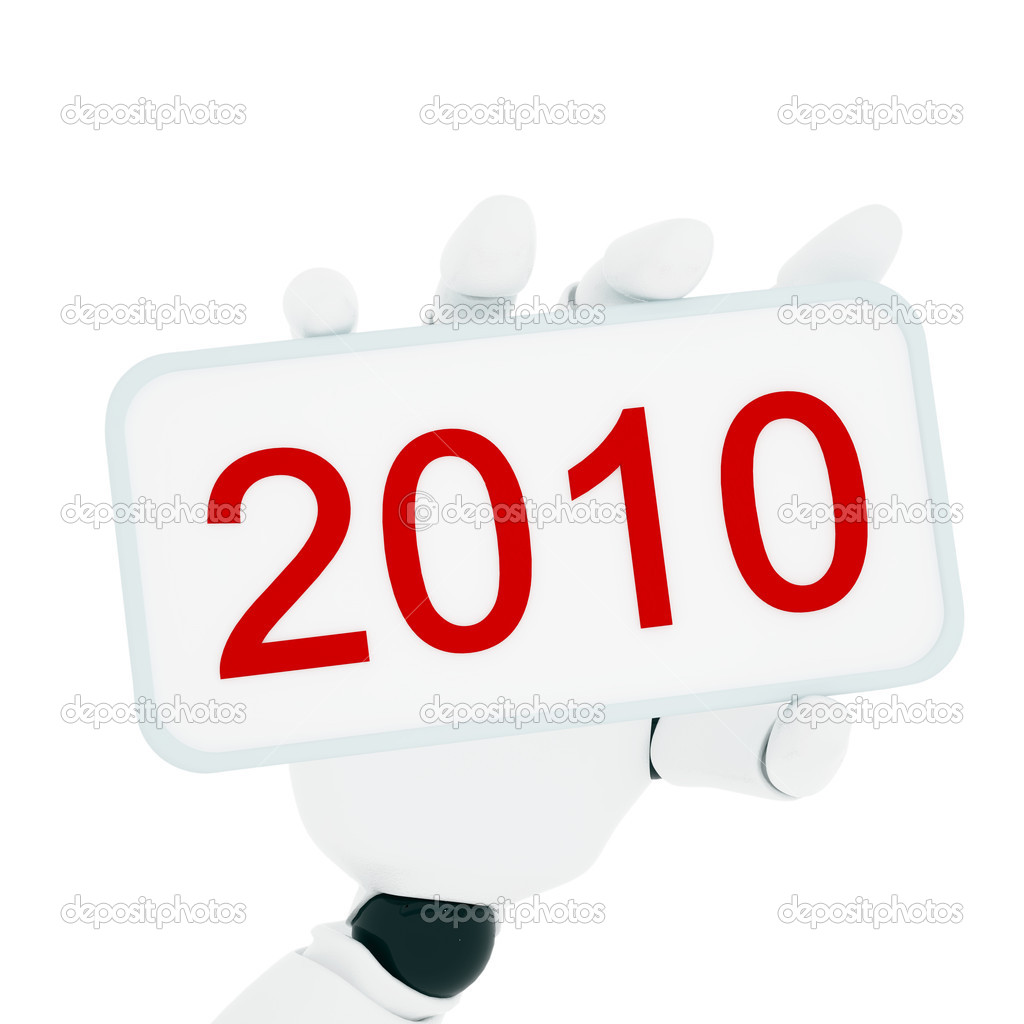 Robotic hand hold a plate with 2010 number. Clipping path include   Stock Photo #1029077