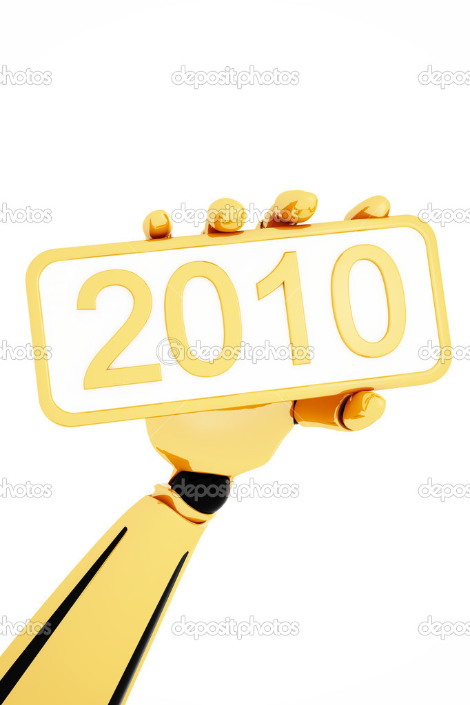 Golden robotic hand hold a plate with 2010 number. Clipping path include — Stock Photo #1029083
