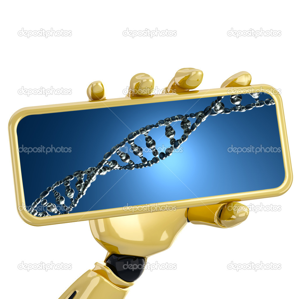The 3d robotic hand hold a plate with DNA strends. Including clipping path — Stock Photo #1029193
