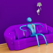Person relaxing in purple minimalist int — Stock Photo #1033170