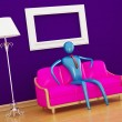 Stock Photo: Person relaxing in purple minimalist int
