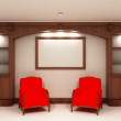 Two red chairs near empty bookcase — Stock Photo