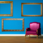 Purple chair in blue minimalist interior — Stock Photo