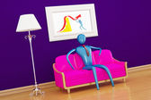 Person relaxing in purple minimalist int — Stock Photo