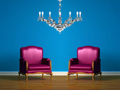 Purple chair in blue minimalist interior — Stockfoto