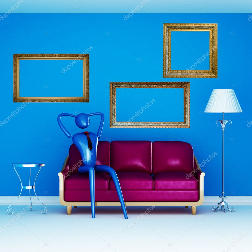 The person relaxing on the purple couch in blue minimalist interior — Stock Photo #1032513