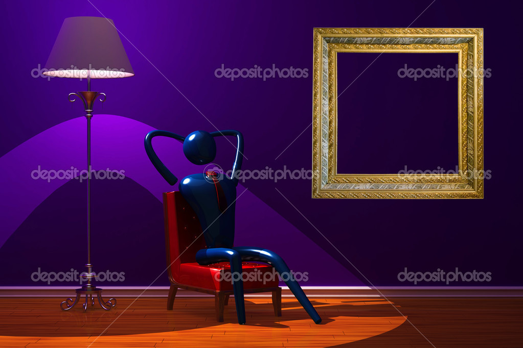 Person relaxing in minimalist interior — Stok fotoğraf #1033294